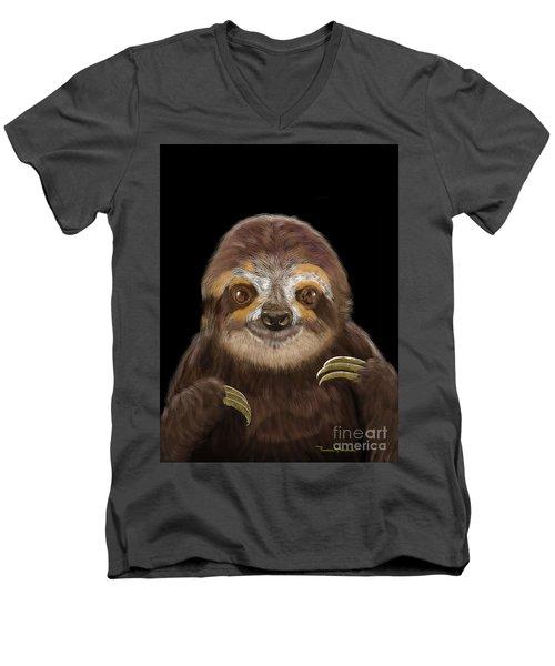 Men's V-Neck T-Shirt featuring the mixed media Happy Three Toe Sloth by Thomas J Herring