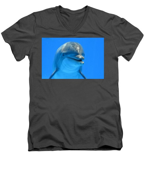 Happy Smiling Dolphin Men's V-Neck T-Shirt by Richard Bryce and Family