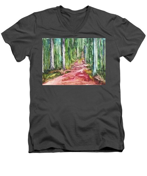 Men's V-Neck T-Shirt featuring the painting Happy Trail by Anna Ruzsan