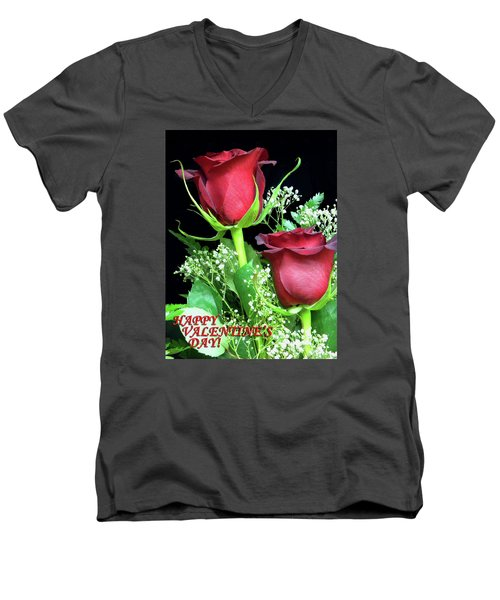 Men's V-Neck T-Shirt featuring the photograph Happy Valentines Day by Sandi OReilly