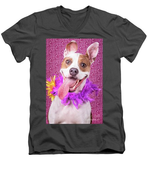 Hapy Dog Men's V-Neck T-Shirt