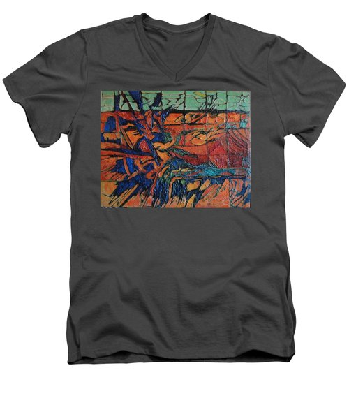 Men's V-Neck T-Shirt featuring the painting Harbingers by Bernard Goodman
