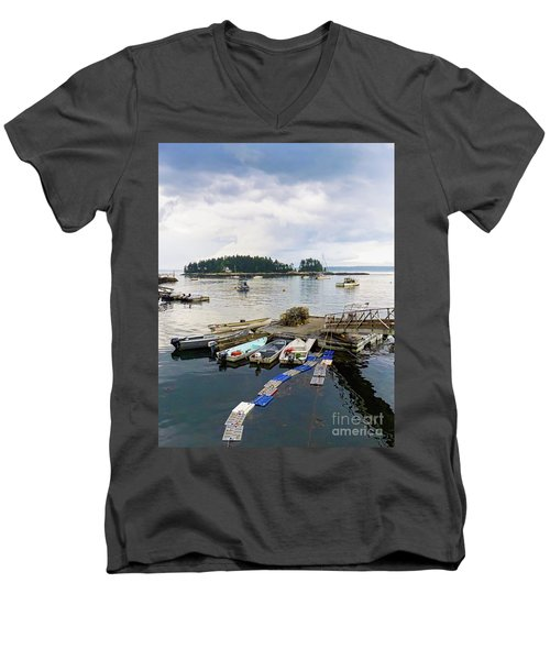 Harbor At Georgetown Five Islands, Georgetown, Maine #60550 Men's V-Neck T-Shirt