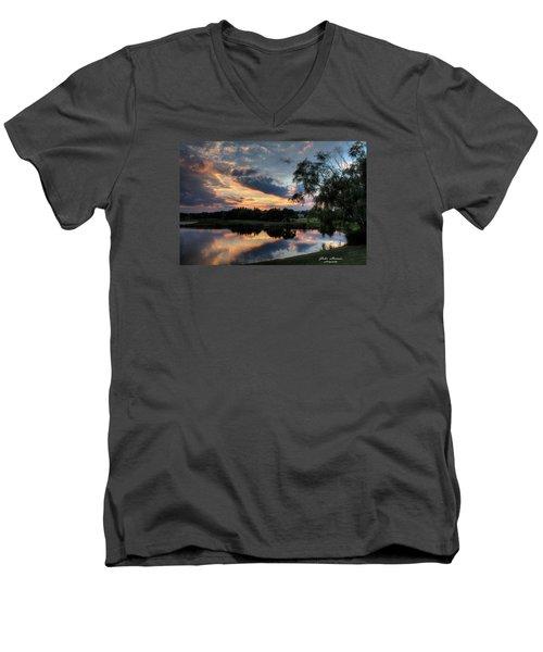 Harbor Reflections Men's V-Neck T-Shirt by John Loreaux