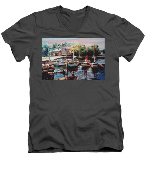 Harbor Sailboats At Rest Men's V-Neck T-Shirt by Ron Chambers