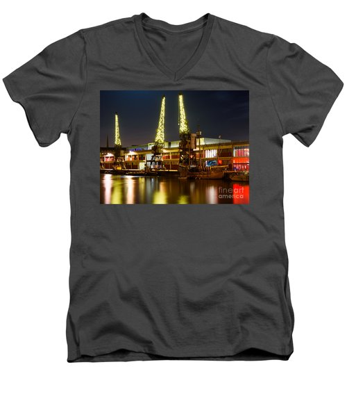 Men's V-Neck T-Shirt featuring the photograph Harbour Cranes by Colin Rayner