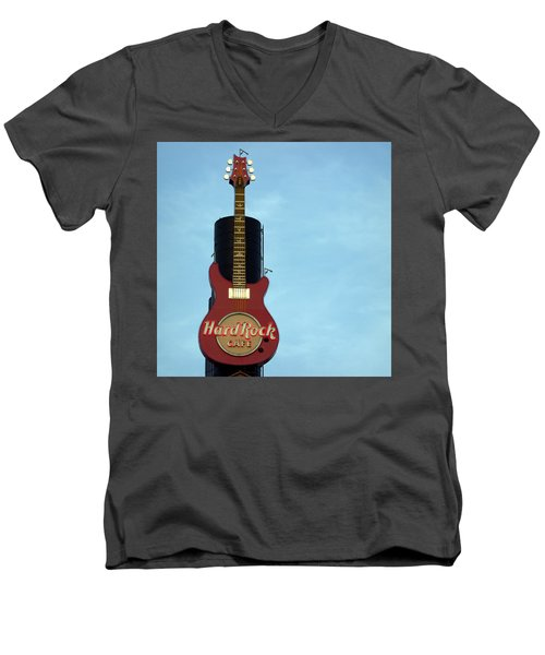 Hard Rock Cafe Men's V-Neck T-Shirt by Joseph Skompski