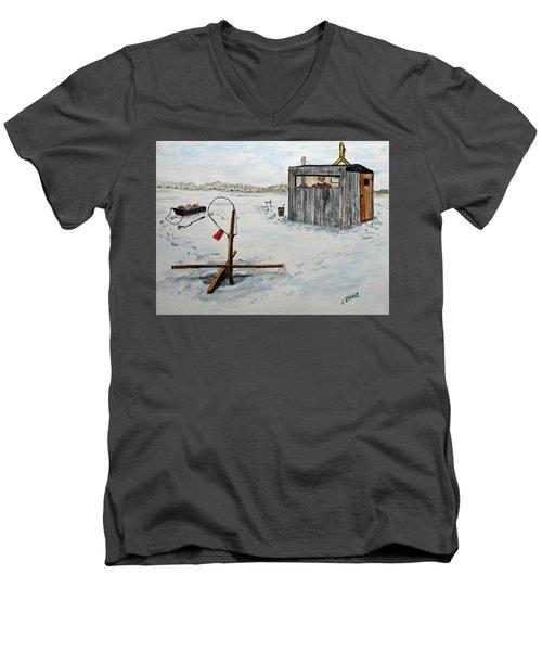 Hard Water Fishing Men's V-Neck T-Shirt