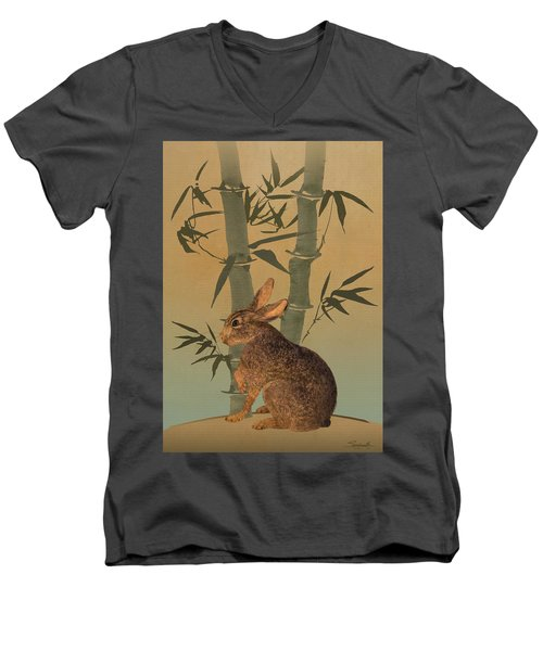 Hare Under Bamboo Tree Men's V-Neck T-Shirt