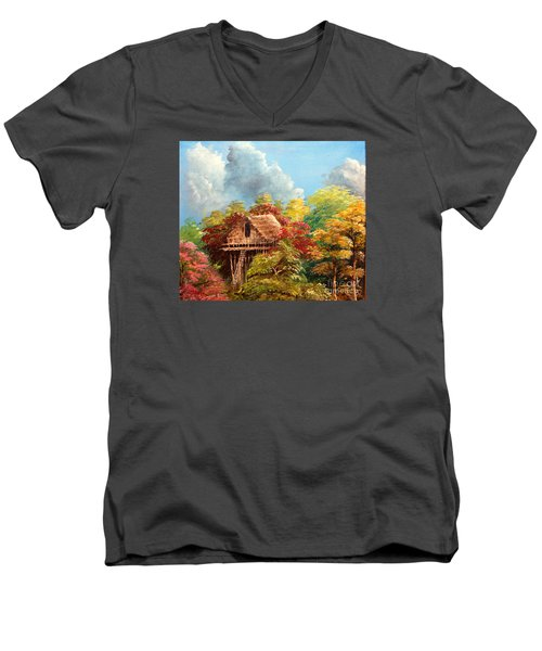 Men's V-Neck T-Shirt featuring the painting Hariet by Jason Sentuf