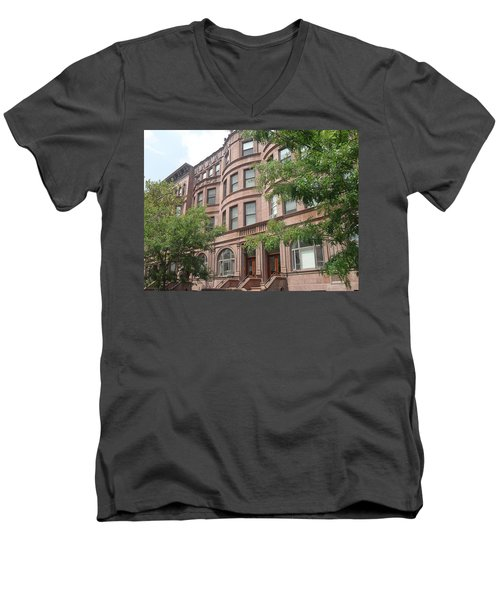 Harlem Brownstones Men's V-Neck T-Shirt by Vannetta Ferguson