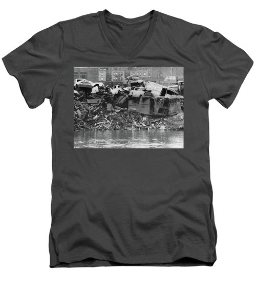 Men's V-Neck T-Shirt featuring the photograph Harlem River Junkyard, 1967 by Cole Thompson