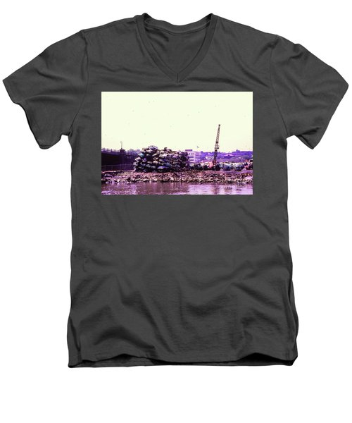 Men's V-Neck T-Shirt featuring the photograph Harlem River Junkyard by Cole Thompson