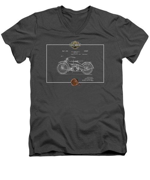 Men's V-Neck T-Shirt featuring the digital art Harley-davidson 1924 Vintage Patent Blueprint  by Serge Averbukh