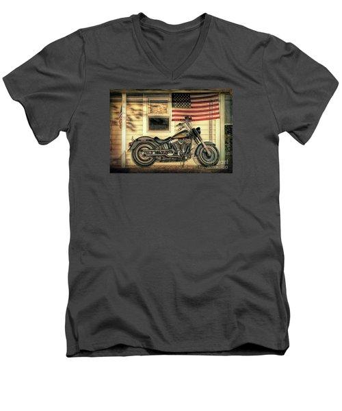 Harley Davidson Fat Boy Men's V-Neck T-Shirt