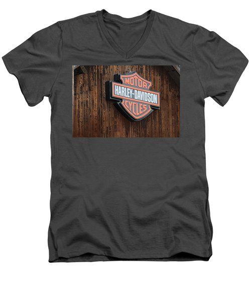 Harley Davidson Sign In West Jordan Utah Photograph Men's V-Neck T-Shirt