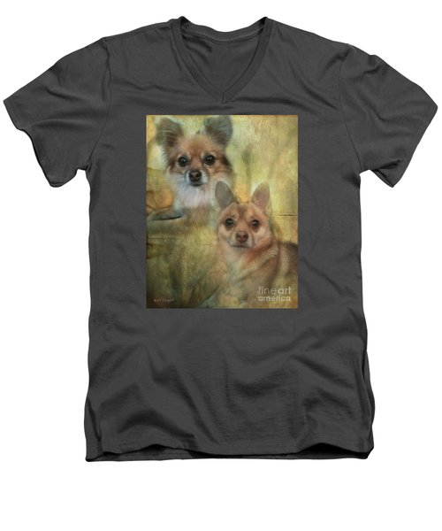 Men's V-Neck T-Shirt featuring the digital art Harley Girl N Bear by Rhonda Strickland