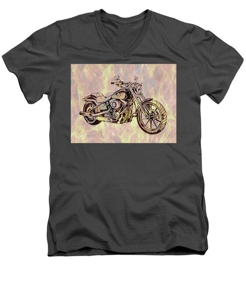 Men's V-Neck T-Shirt featuring the mixed media Harley Motorcycle On Flames by Dan Sproul
