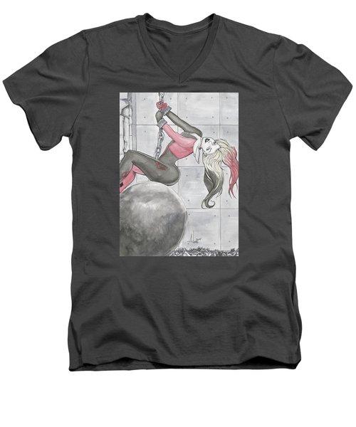 Harley Quinn Wrecking Ball Men's V-Neck T-Shirt