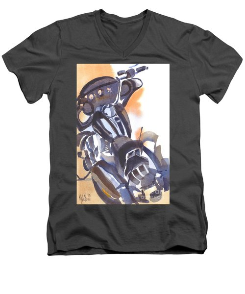 Men's V-Neck T-Shirt featuring the painting Motorcycle Iv by Kip DeVore