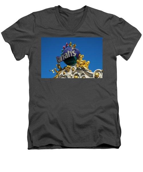 Harrah's Casino Sign On The Las Vegas Strip Men's V-Neck T-Shirt