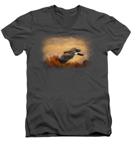 Harris Hawk In Autumn Men's V-Neck T-Shirt by Jai Johnson