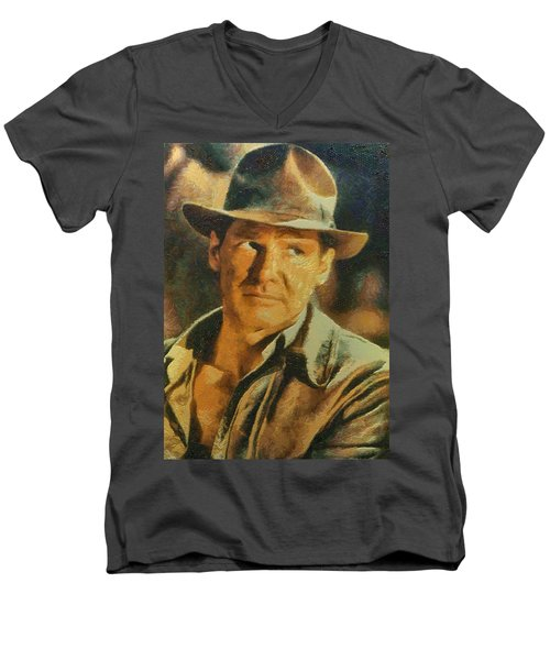 Harrison Ford As Indiana Jones Men's V-Neck T-Shirt