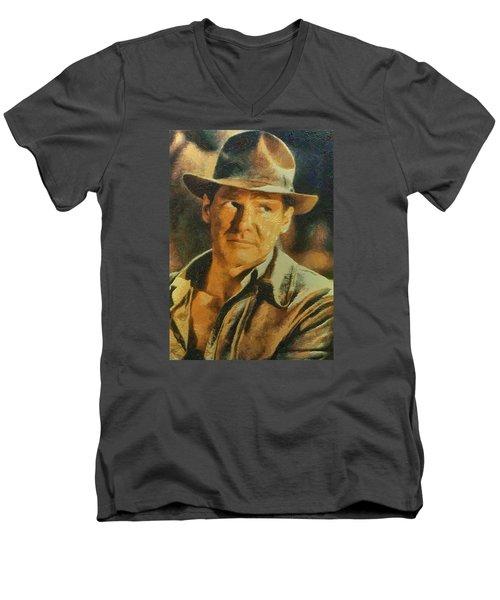 Harrison Ford As Indiana Jones Men's V-Neck T-Shirt