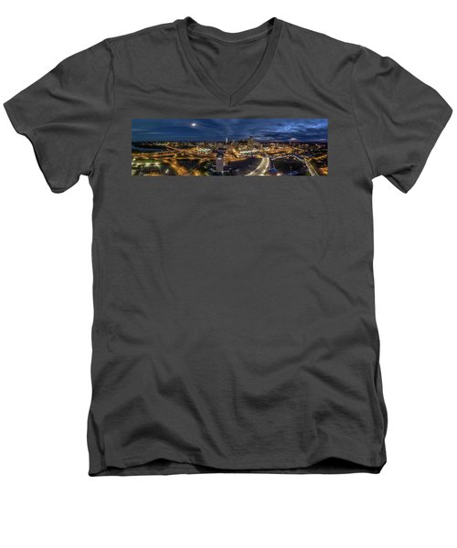 Hartford Ct Night Panorama Men's V-Neck T-Shirt by Petr Hejl