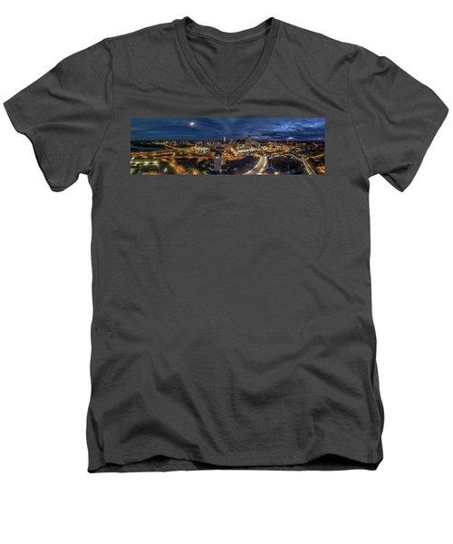 Hartford Ct Night Panorama Men's V-Neck T-Shirt