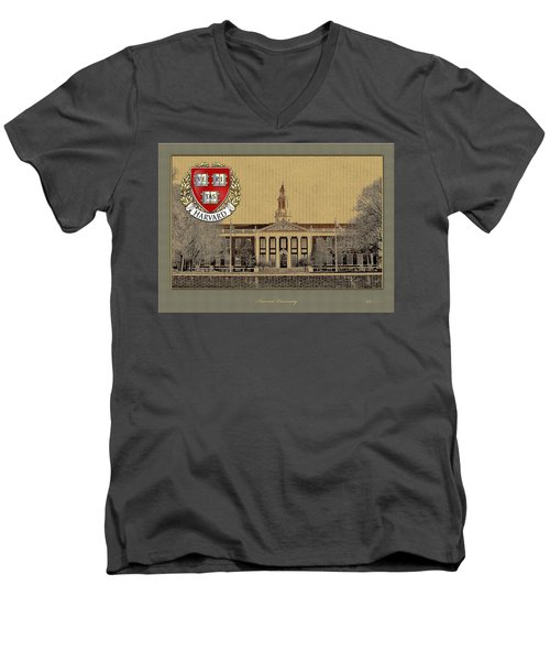 Harvard University Building With Seal Men's V-Neck T-Shirt by Serge Averbukh