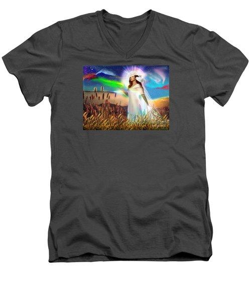 Harvest Bride Men's V-Neck T-Shirt by Dolores Develde