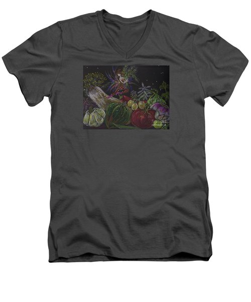 Men's V-Neck T-Shirt featuring the drawing Harvest by Dawn Fairies