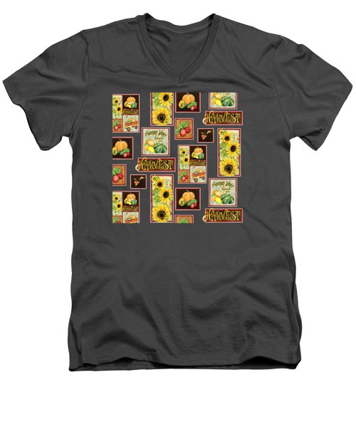 Harvest Market Pumpkins Sunflowers N Red Wagon Men's V-Neck T-Shirt