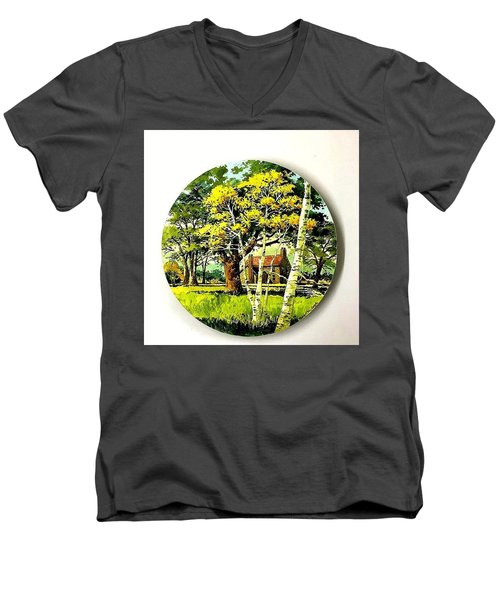 Harvest Moon Landscape Men's V-Neck T-Shirt