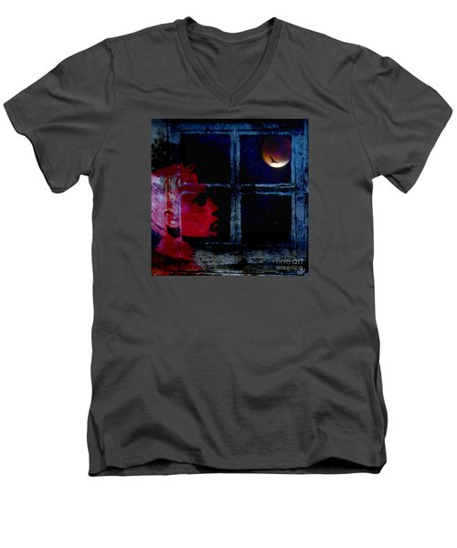 Men's V-Neck T-Shirt featuring the photograph Harvest Moon by LemonArt Photography