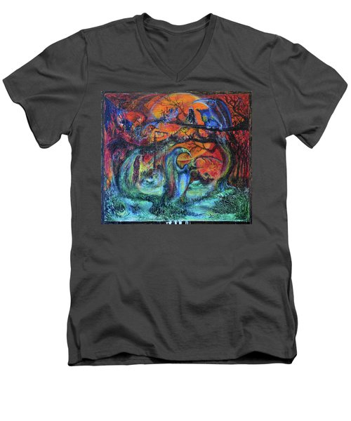 Men's V-Neck T-Shirt featuring the painting Harvesters Of The Autumnal Swamp by Christophe Ennis