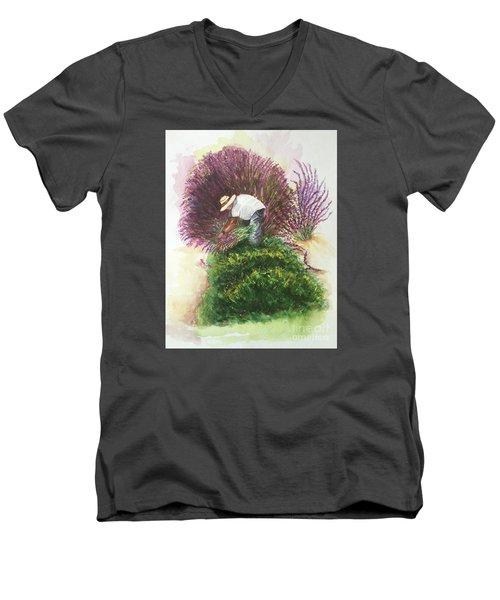 Harvesting Lavender Men's V-Neck T-Shirt by Lucia Grilletto