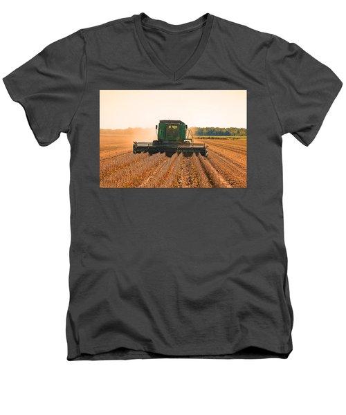 Harvesting Soybeans Men's V-Neck T-Shirt