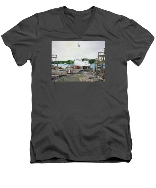 Men's V-Neck T-Shirt featuring the painting Harvey A. Drewer by Stan Tenney