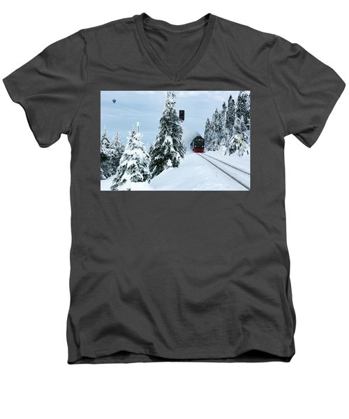 Harz Ballooning And Brocken Railway Men's V-Neck T-Shirt by Andreas Levi
