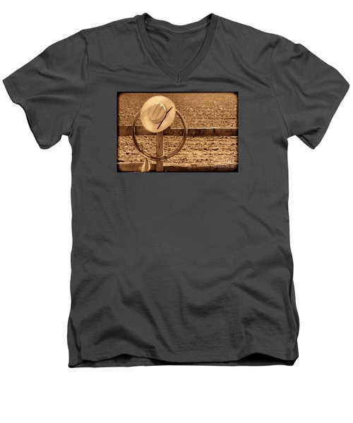 Hat And Lasso On A Fence Men's V-Neck T-Shirt by American West Legend By Olivier Le Queinec