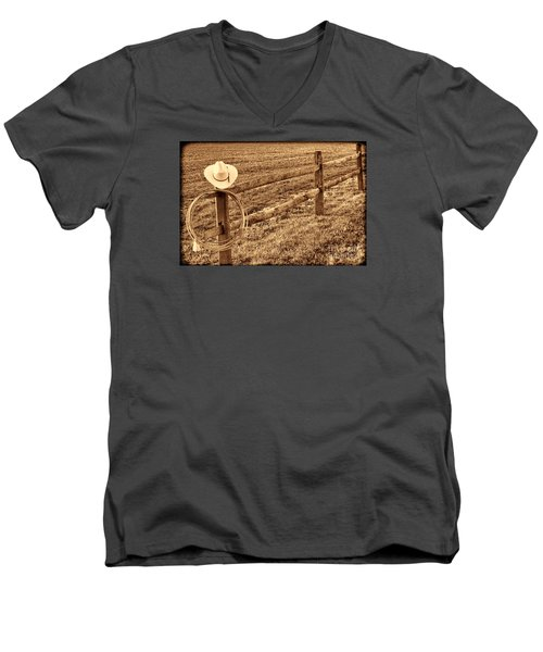 Hat And Lasso On Fence Men's V-Neck T-Shirt