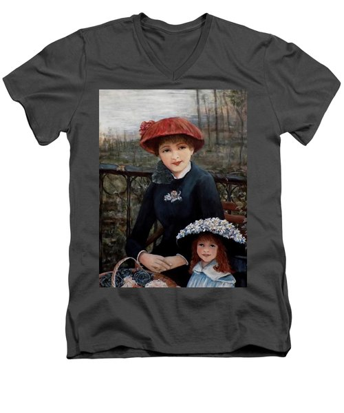 Men's V-Neck T-Shirt featuring the painting Hat Sense by Judy Kirouac