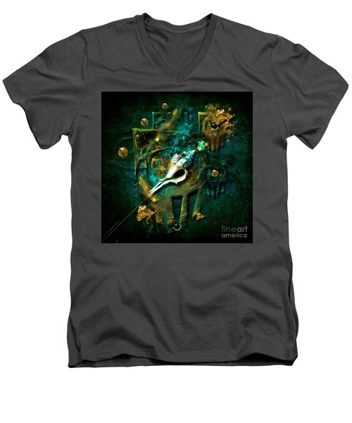 Men's V-Neck T-Shirt featuring the painting Hatpin by Alexa Szlavics