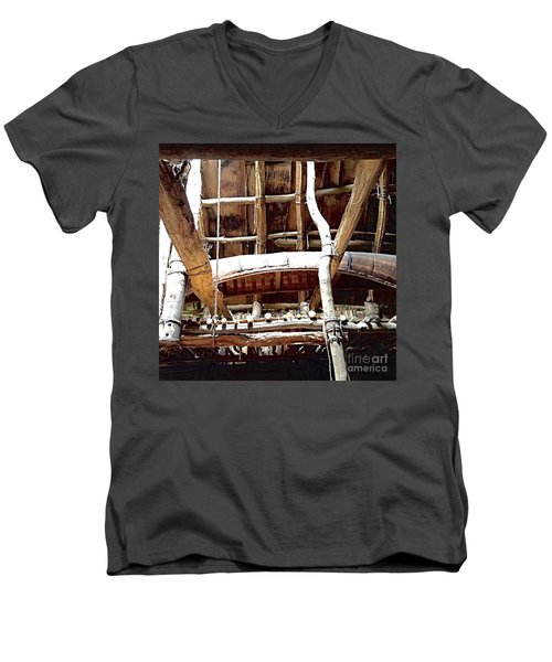 Haudenosaunee Longhouse  Men's V-Neck T-Shirt by Ellen Levinson