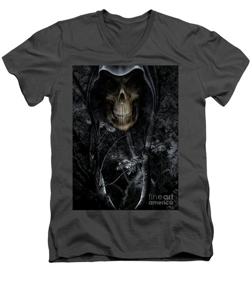 Men's V-Neck T-Shirt featuring the photograph Haunted Forest by Al Bourassa