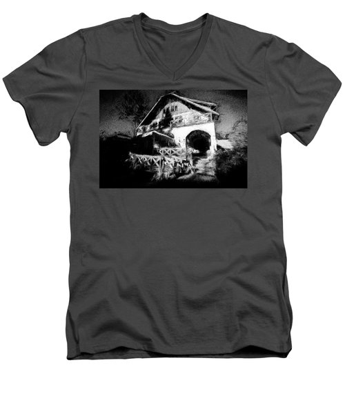 Haunted House Men's V-Neck T-Shirt by Celso Bressan