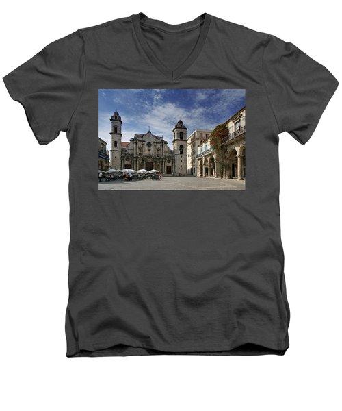 Havana Cathedral. Cuba Men's V-Neck T-Shirt