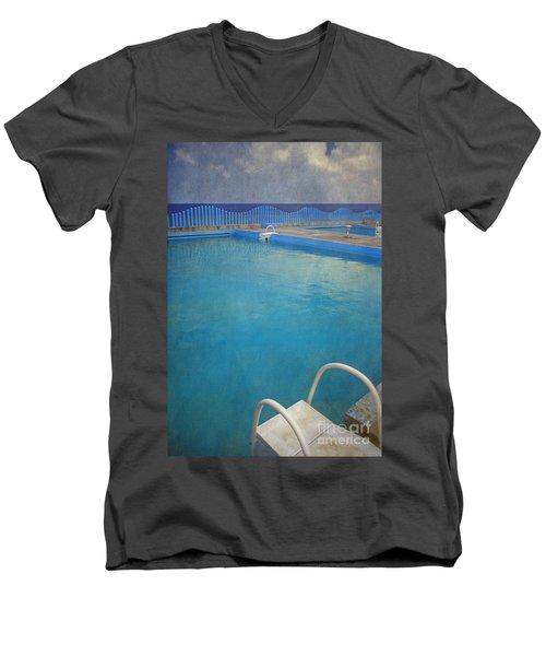 Men's V-Neck T-Shirt featuring the photograph Havana Cuba Swimming Pool And Ocean by David Zanzinger